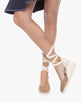 Manebi Vintage Taupe Hampton's Lace-Up Wedge 2