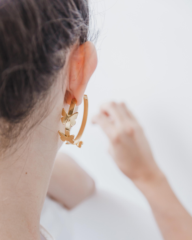 Rosario Butterfly Hoop Earrings