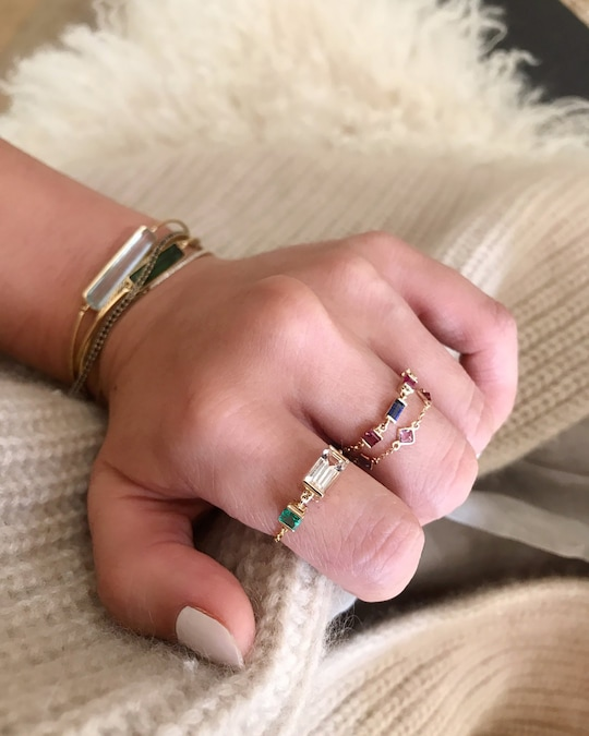 Yi Collection Morganite & Emerald Chain Ring 1