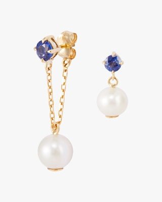 Yi Collection Pearl & Sapphire Earrings 1