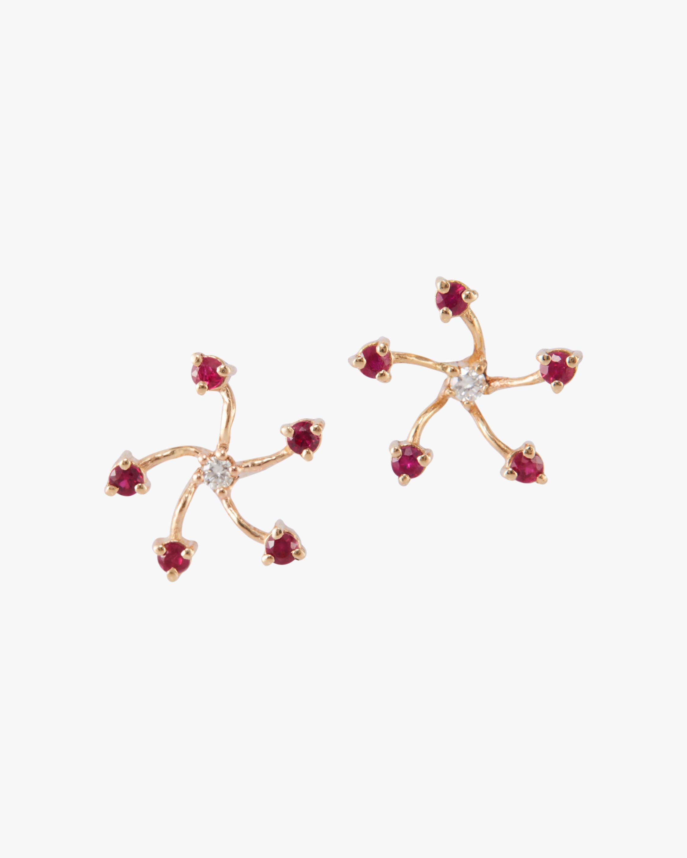 Yi Collection Ruby & Diamond Fire Flower Earrings 0