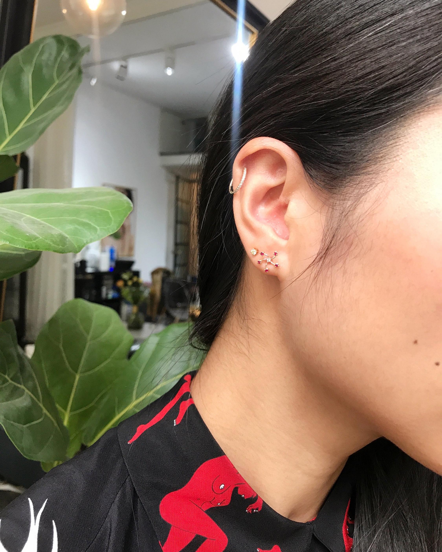Ruby & Diamond Fire Flower Earrings