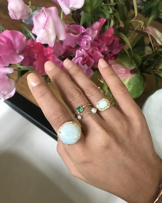 Yi Collection Emerald Petite Button Ring 2