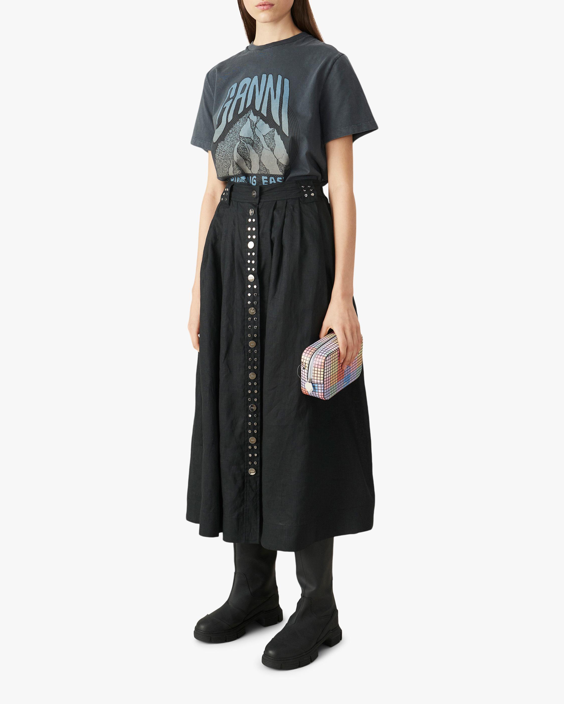 Button-Front Midi Skirt