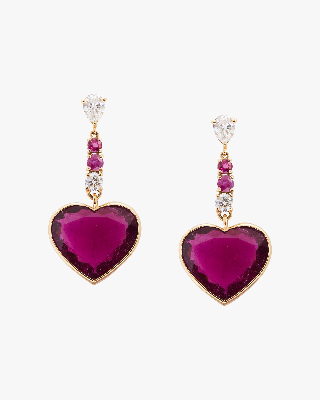 One-of-a-Kind Rubellite Heart Earrings
