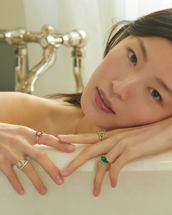Yi Collection Emerald Deco Ring 2