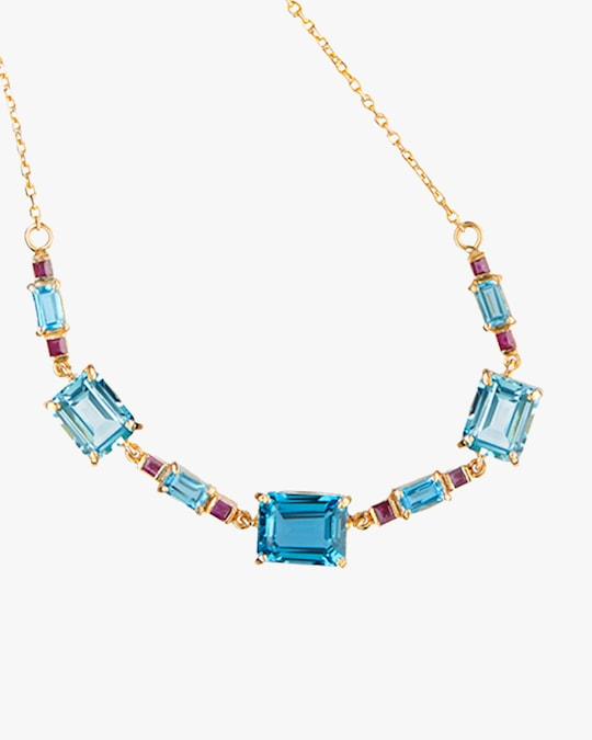 Yi Collection Topaz & Ruby Deco Necklace 1