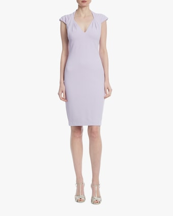 Lavender Pleated-Shoulder Day Dress