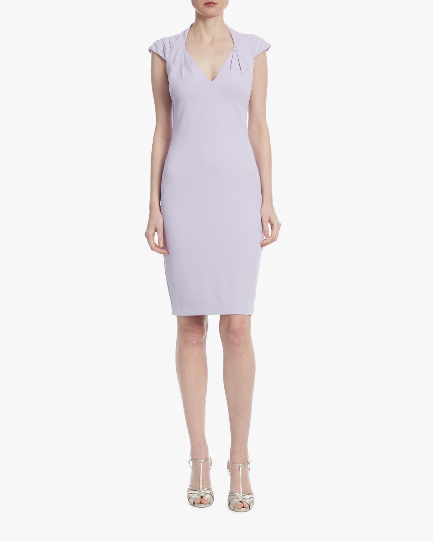 Badgley Mischka Lavender Pleated-Shoulder Day Dress 1