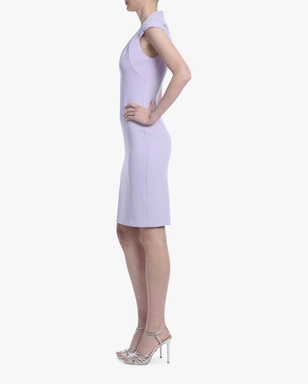 Badgley Mischka Lavender Pleated-Shoulder Day Dress 2
