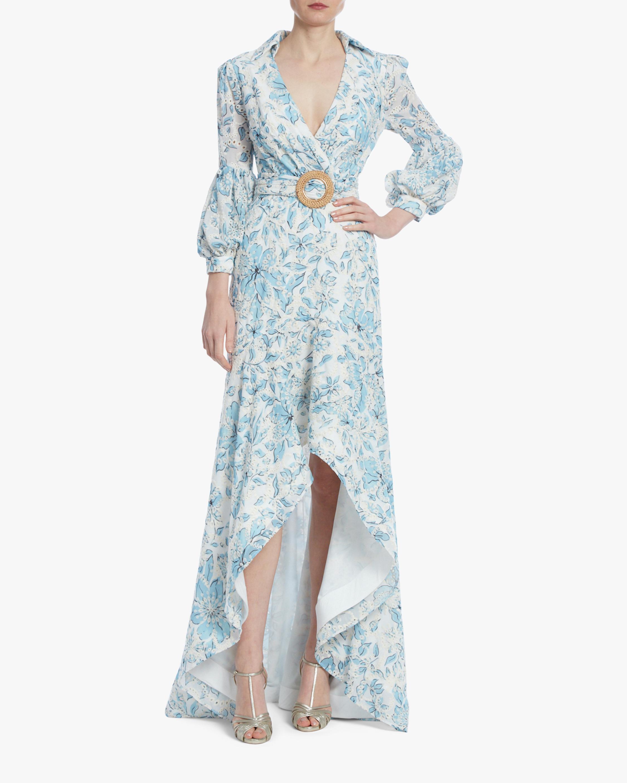 Badgley Mischka Floral Eyelet Hi-Low Dress 0