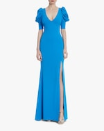 Badgley Mischka Caribbean Blue Ruched-Sleeve Gown 0