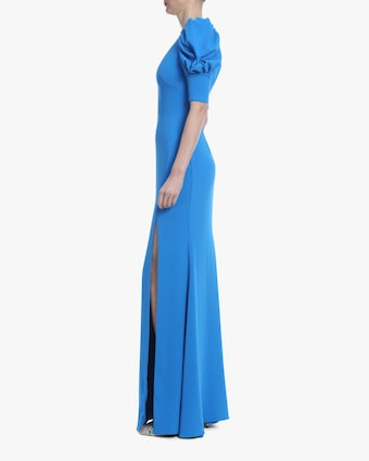 Caribbean Blue Ruched-Sleeve Gown