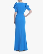 Badgley Mischka Caribbean Blue Ruched-Sleeve Gown 2