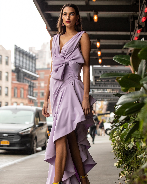 Badgley Mischka Lavender Bow Ruffle-Hem Gown 1