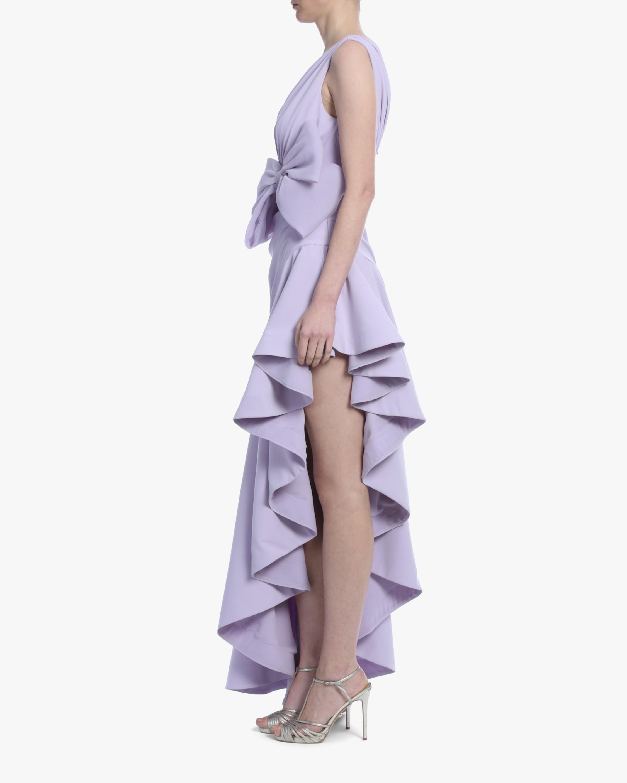 Badgley Mischka Lavender Bow Ruffle-Hem Gown 2