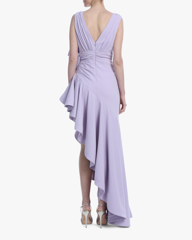 Badgley Mischka Lavender Bow Ruffle-Hem Gown 3