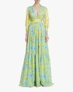 Badgley Mischka Floral Tiered Gown 0