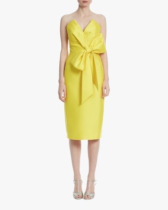 Marigold Strapless Bow Cocktail Dress