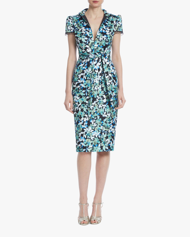 Badgley Mischka Floral Cap-Sleeve Cocktail Dress 1