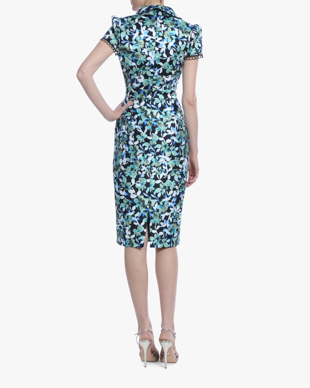 Badgley Mischka Floral Cap-Sleeve Cocktail Dress 2