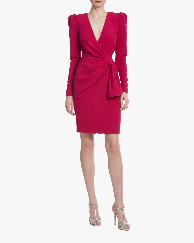 Badgley Mischka Raspberry Side-Knot Cocktail Dress 0