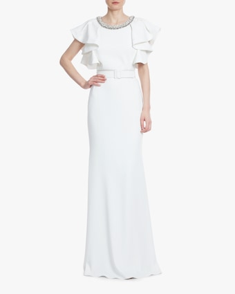 Badgley Mischka Light Ivory Ruffle-Sleeve Gown 1