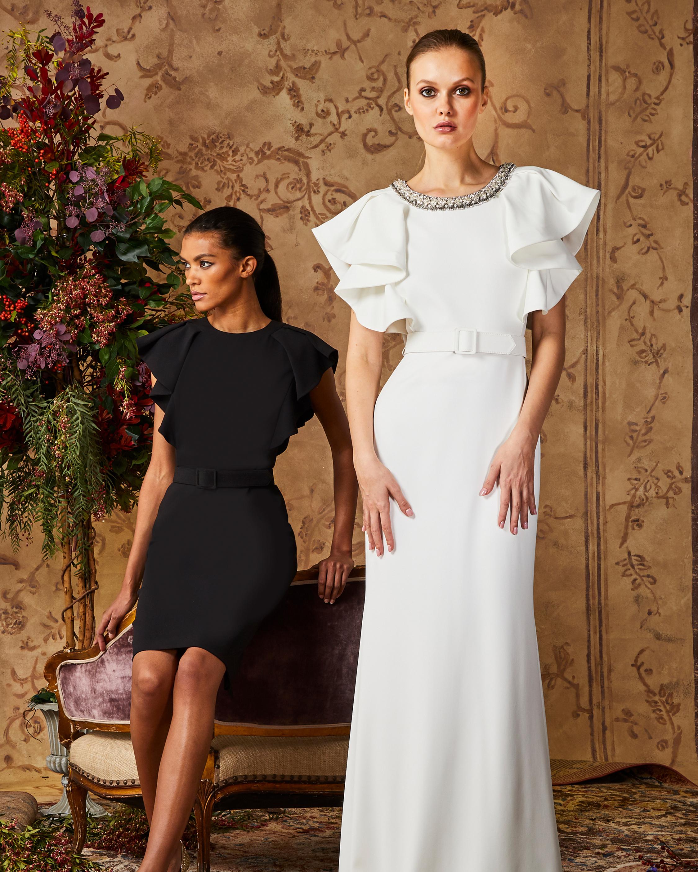 Badgley Mischka Light Ivory Ruffle-Sleeve Gown 1