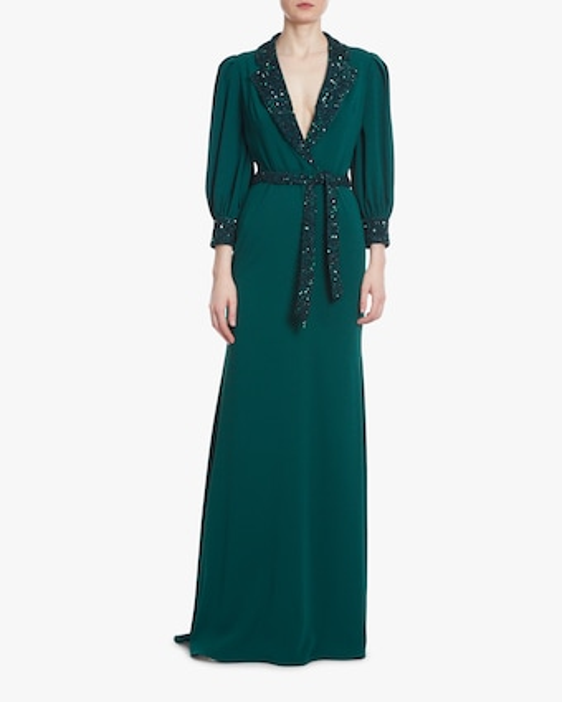 Badgley Mischka Dark Emerald Sequin Faux-Wrap Dress 1