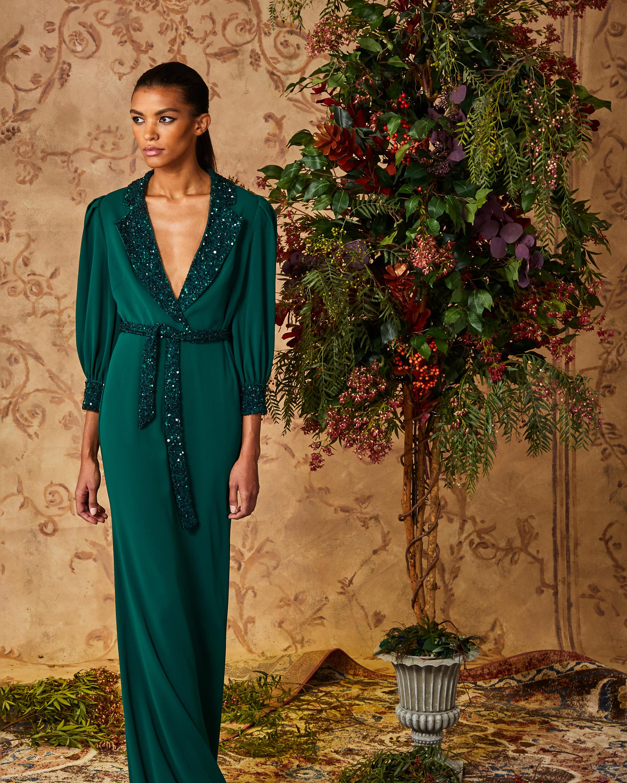 Badgley Mischka Dark Emerald Sequin Faux-Wrap Dress 2