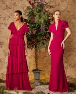 Badgley Mischka Raspberry Ruffled Gown 1