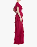 Badgley Mischka Raspberry Ruffled Gown 2