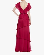 Badgley Mischka Raspberry Ruffled Gown 3