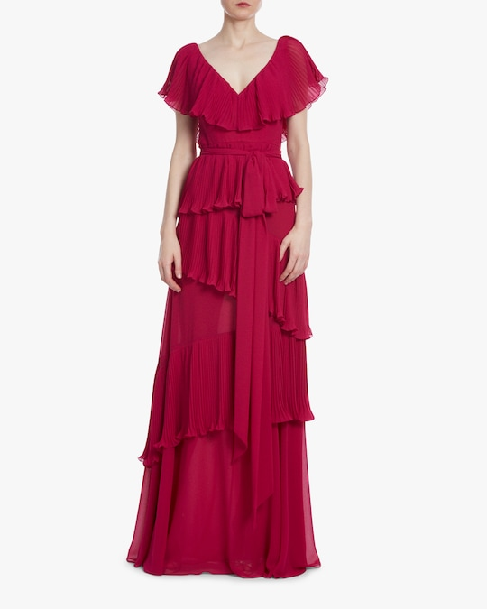 Badgley Mischka Raspberry Ruffled Gown 0