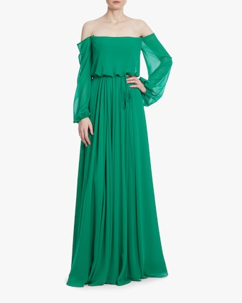 Badgley Mischka Dark Emerald Off-Shoulder Dress 1