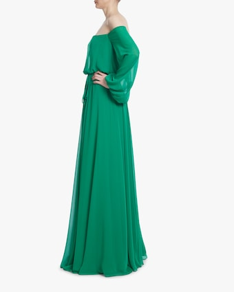 Badgley Mischka Dark Emerald Off-Shoulder Dress 2