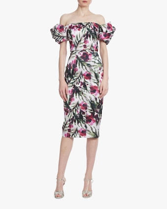 Badgley Mischka Floral Twisted Sleeve Cocktail Dress 1