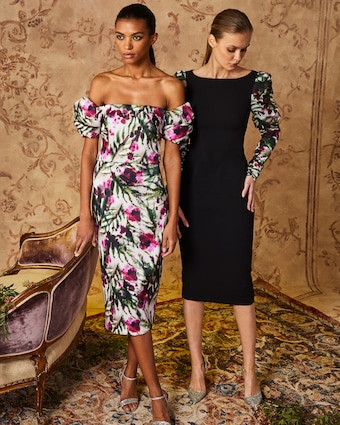 Badgley Mischka Floral Twisted Sleeve Cocktail Dress 2