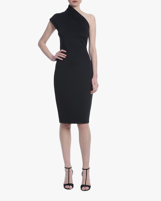 Badgley Mischka Black One-Shoulder Cocktail Dress 0