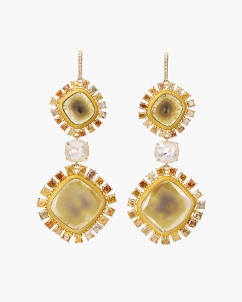 Nina Runsdorf Yellow Slice Diamond Earrings 1