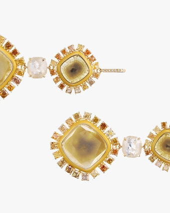 Nina Runsdorf Yellow Slice Diamond Earrings 2