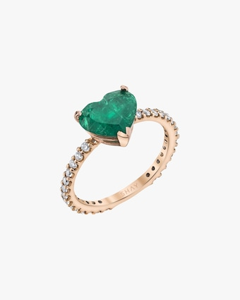 Shay Jewelry Emerald Heart Pinky Ring 1