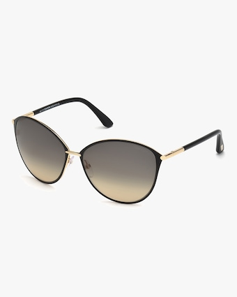 Black & Goldtone Round Sunglasses