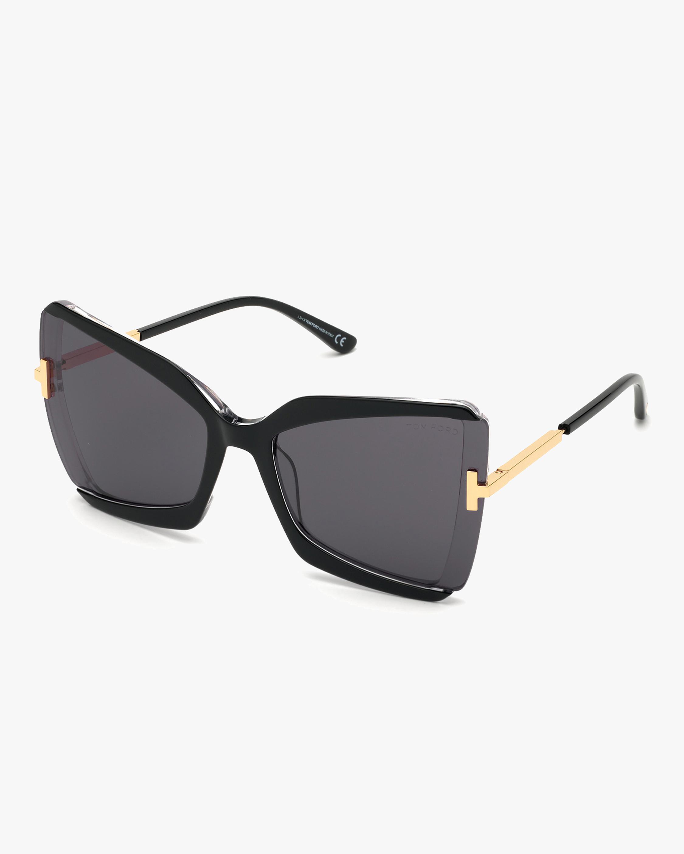 Tom Ford Black Geometric Oversized Sunglasses 2