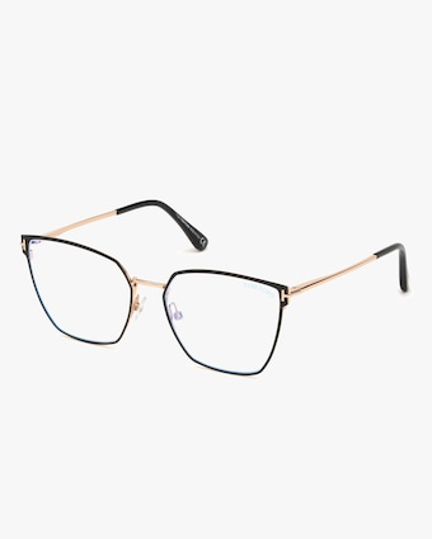 Tom Ford Black & Goldtone Square Blue Light Glasses 2