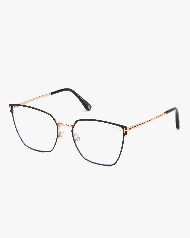 Tom Ford Black & Goldtone Square Blue Light Glasses 0