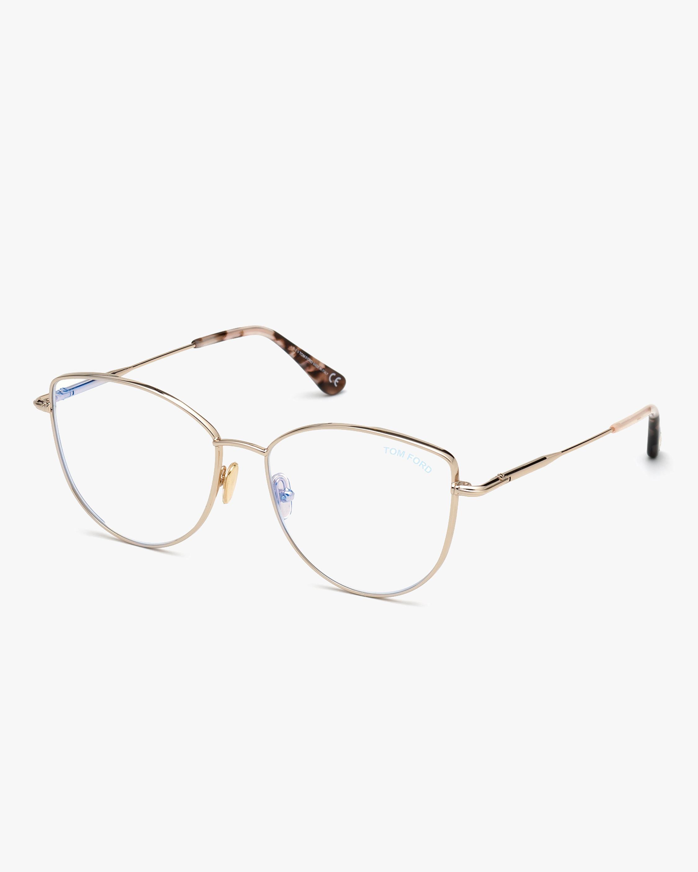 Tom Ford Goldtone Round Bluelight Glasses 2