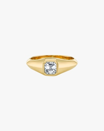 Diamond Signet Knife Edge Pinky Ring