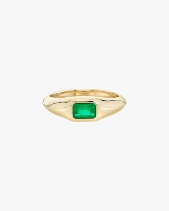 Emerald Signet Knife Edge Pinky Ring