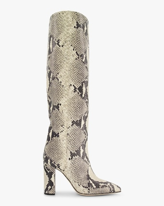 Snake-Print Leather Boot